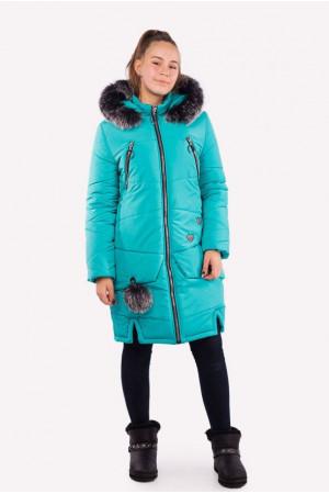Длинная зимняя куртка для девочки бирюзовая
