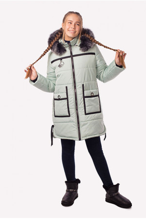 Зимняя оливковая куртка для девочки подростка
