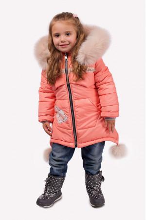Зимова куртка для дівчаток персикового кольору