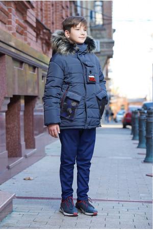 Графитовая зимняя куртка с капюшоном для мальчика