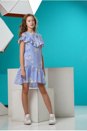 Ассиметричное платье в  синюю полоску