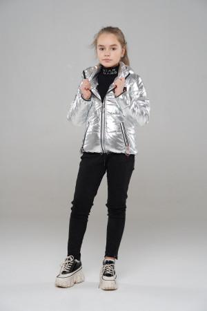Демисезонная серебристая куртка для девочек