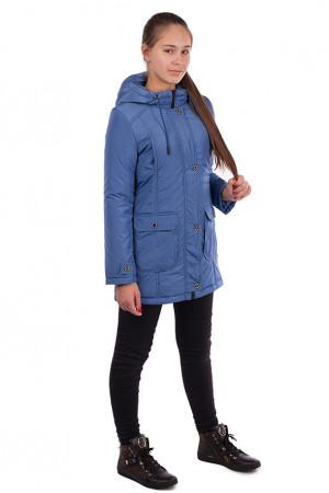 Удлиненная куртка-парка с накладными карманами для девочки