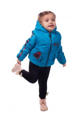 Блакитна курточка для дівчинки з капюшоном