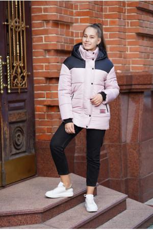 Черно-розовая зимняя куртка для девочки с поясом