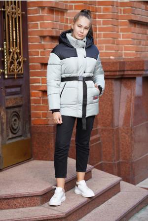 Зимняя курточка цвета оливка с поясом для девочки