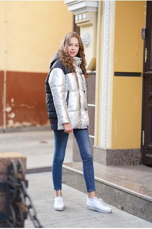Зимняя двухцветная куртка для девочки с поясом