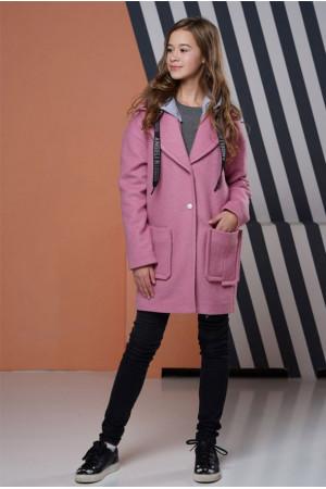 Розовое демисезонное пальто Фьюжен