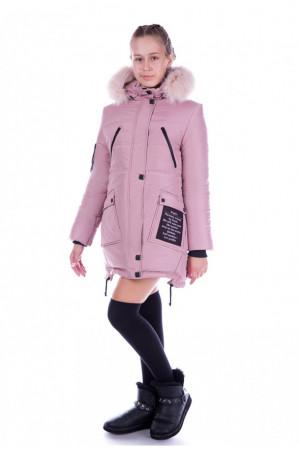 Кремовая зимняя куртка с капюшоном