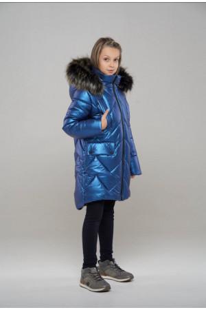 Стеганная синяя куртка для девочки