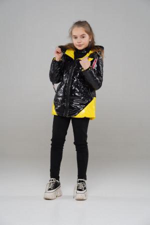Куртка для девочек черного цвета с желтыми вставками