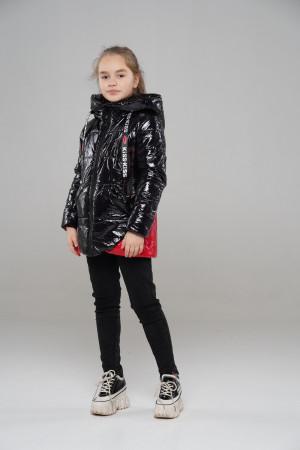 Черная куртка для девочек красными вставками
