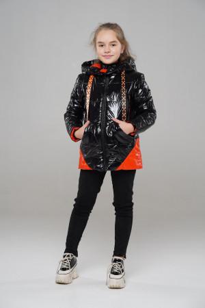 Весенняя куртка для девочек черного цвета с оранжевыми вставками