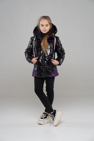 Лаковая куртка для девочек черного цвета с фиолетовыми вставками