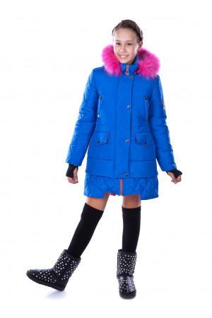 Стеганная куртка для девочек синего цвета