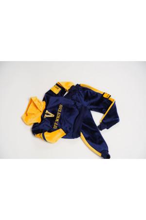 Спортивный костюм для мальчиков Велюр(4) Желтый/синий