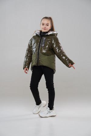 Зелена куртка для дівчаток на весну
