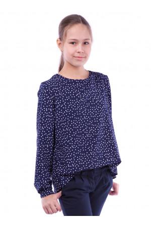 Синя блуза з принтом з середечек