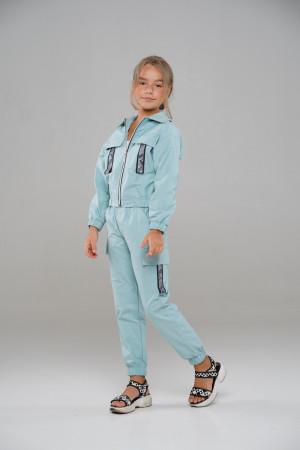 Спортивний костюм на манжетах блакитного кольору