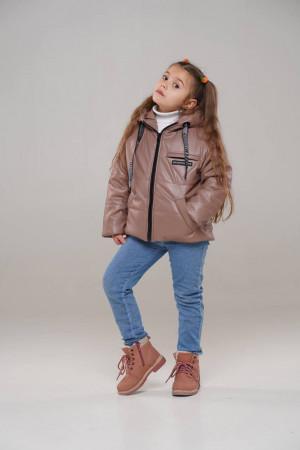 Дитяча куртка кольору капучіно для дівчаток