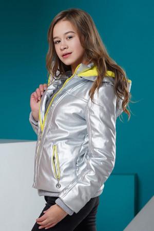 Серебристая демисезонная куртка для девочек