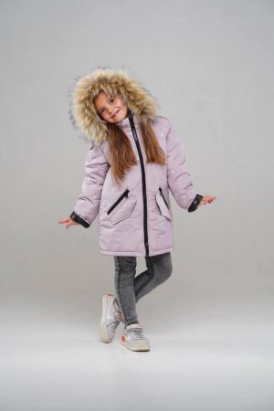 Зимова парка пудровий кольору для дівчаток