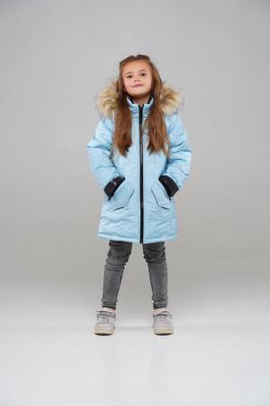 Зимова куртка-парка для дівчаток небесного кольору