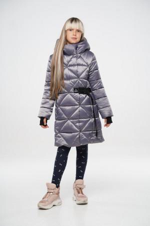 Теплая куртка для девочек цвета графит
