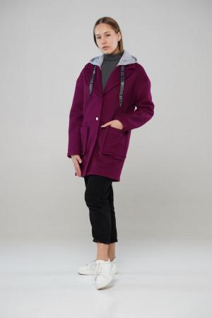 Демисезонное пальто Фьюжен  винного цвета