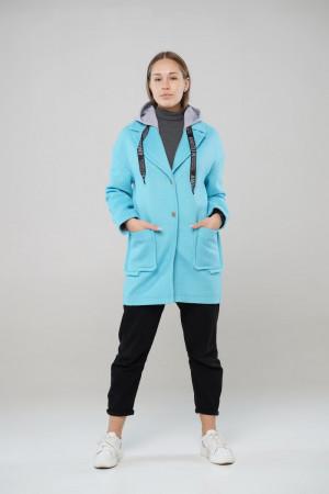 Блакитне демісезонне пальто Ф'южен