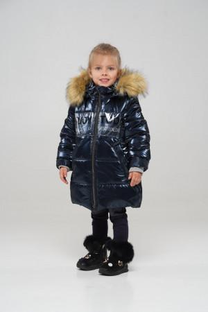 Стильная зимняя куртка для маленьких девочек синего цвета