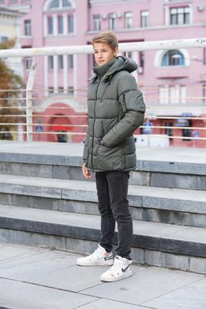 Удлиненная теплая куртка для мальчиков цвета хаки