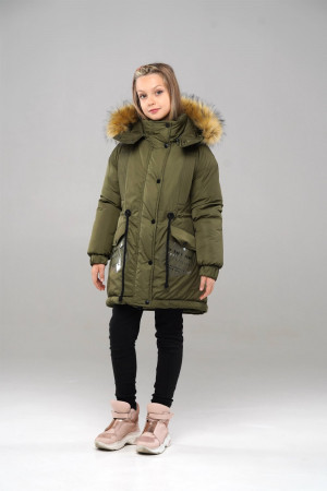 Зимняя куртка с капюшоном для девочки цвета хаки