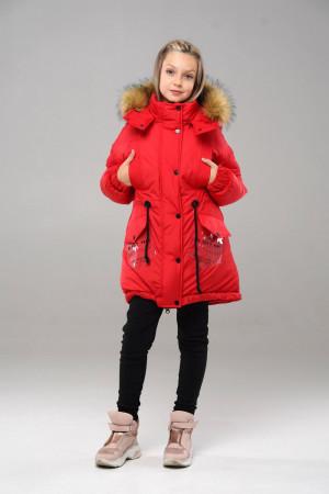 Красная зимняя куртка с капюшоном для девочек