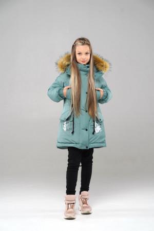 Зимова куртка з капюшоном для дівчаток кольору фісташка