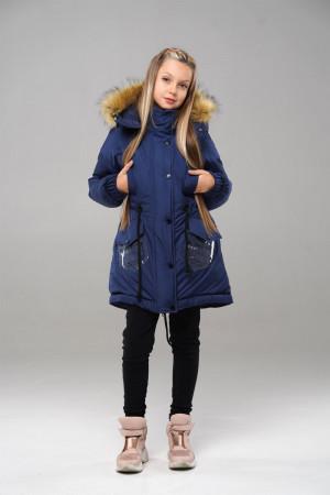 Синяя зимняя куртка с капюшоном для девочек