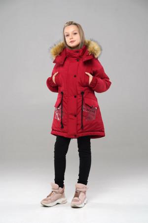 Вишневая зимняя куртка с капюшоном для девочек