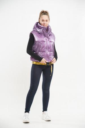 Укороченный жилет лилового цвета для девочек