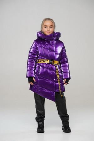 Лакова фіолетова зимова куртка для дівчаток