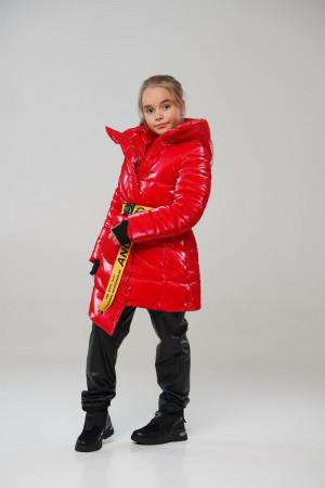 Лакова червона зимова куртка для дівчаток