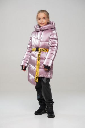 Лаковая зимняя куртка цвета пудра для девочек