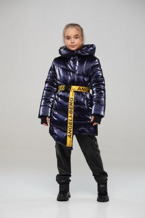 Лаковая синяя зимняя куртка для девочек