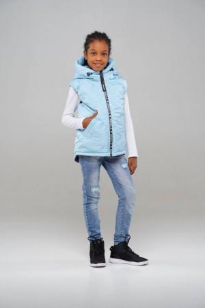 Теплий жилет для дівчаток блакитного кольору