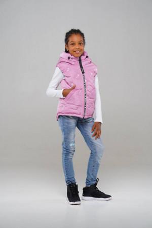 Рожевий жилет з капюшоном для дівчаток
