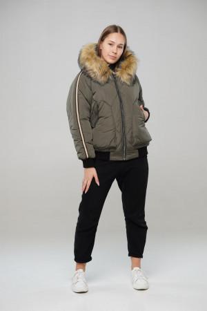 Зимняя куртка цвета хаки для девочек