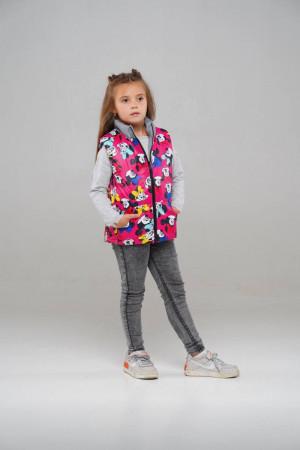 Двосторонній жилет для дівчаток рожевий / сірий