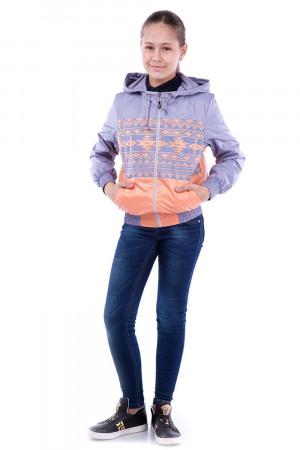 Ветровка для девочек с принтом сиреневого цвета