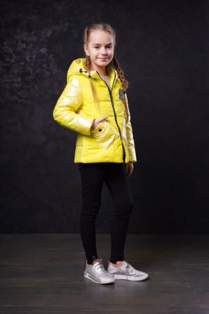 Лимонная демисезонная куртка для девочек с капюшоном