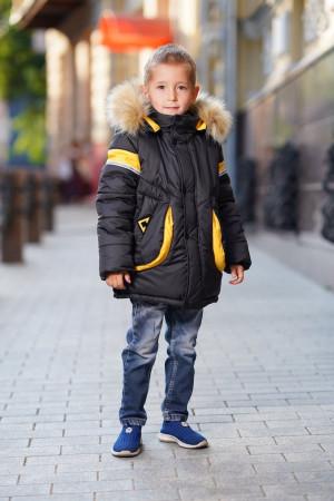 Зимняя куртка для мальчиков с капюшоном и желтыми вставками