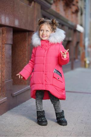 Зимняя куртка для маленьких девочек с пушистым капюшоном (коралл)